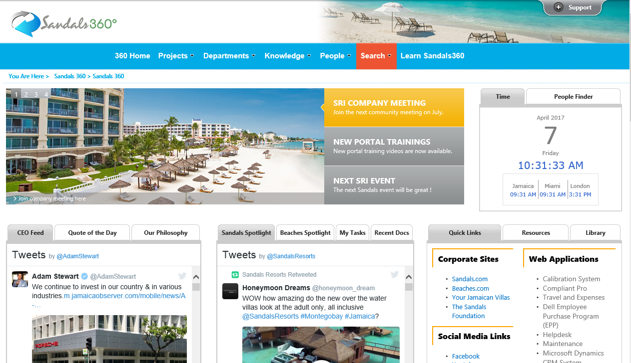 Sandals Resorts & Beaches - Intranet Plus Apps Banner