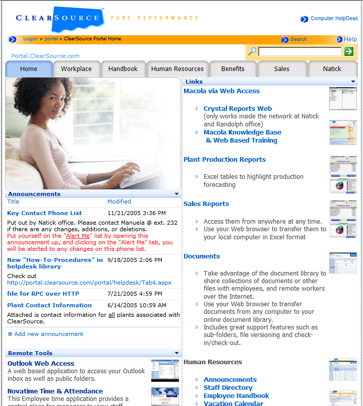 Clearsource Portal Screenshot