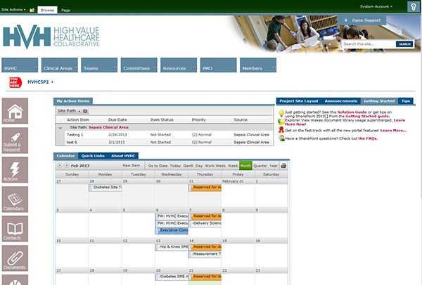 High Value HealthCare Portal Screenshot