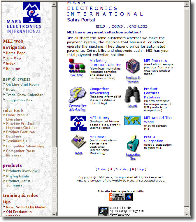 Mars Electronic International Portal Screenshot