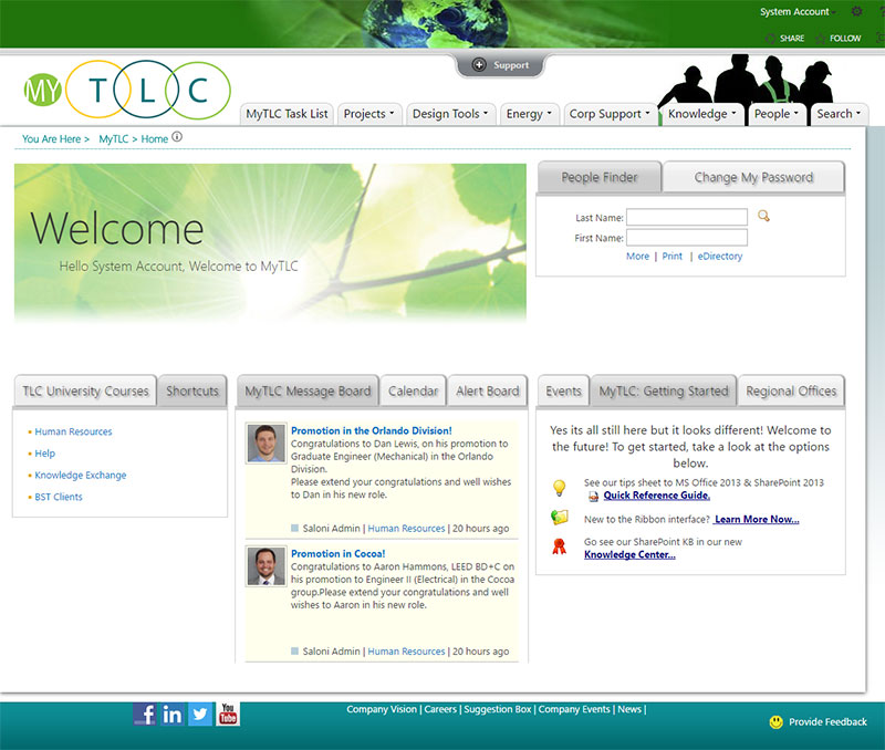 TLC Intranet Homepage