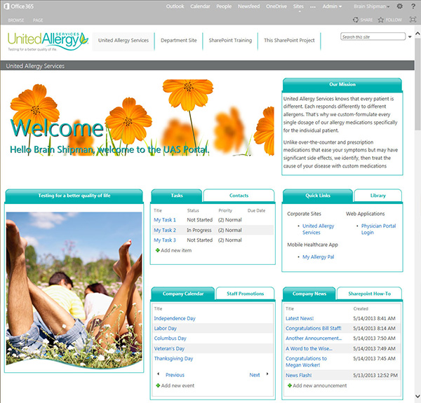 United Allergy Services Portal Screenshot